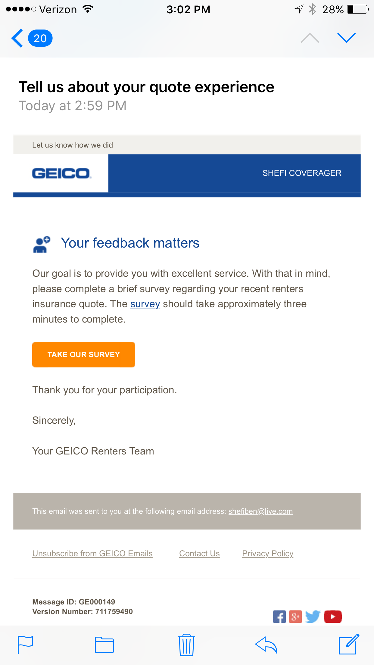 Renters Insurance Quote Curious What A 'post Quote' Geico Survey Looks Like