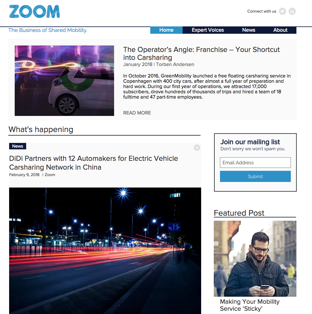 Shared Mobility Platform Launches Content Site