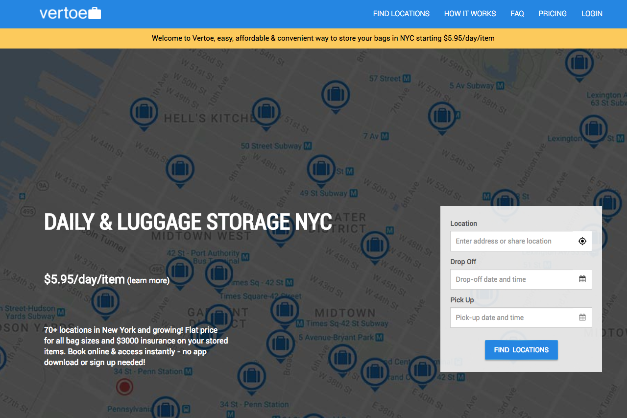 Think: A New York Based Luggage Storage Startup That Was Launched In May  2016. The Idea U2013 A Site That Finds Nearby Locations For One To Drop Off  His/her ...