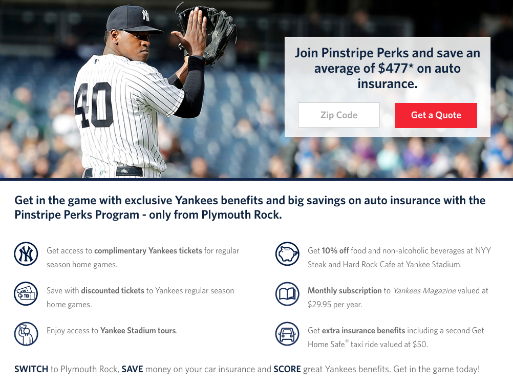 pinstripe perks endorsement for an annual fee of 20 and a plymouth rock assurance connecticut or new jersey private passenger auto insurance policy