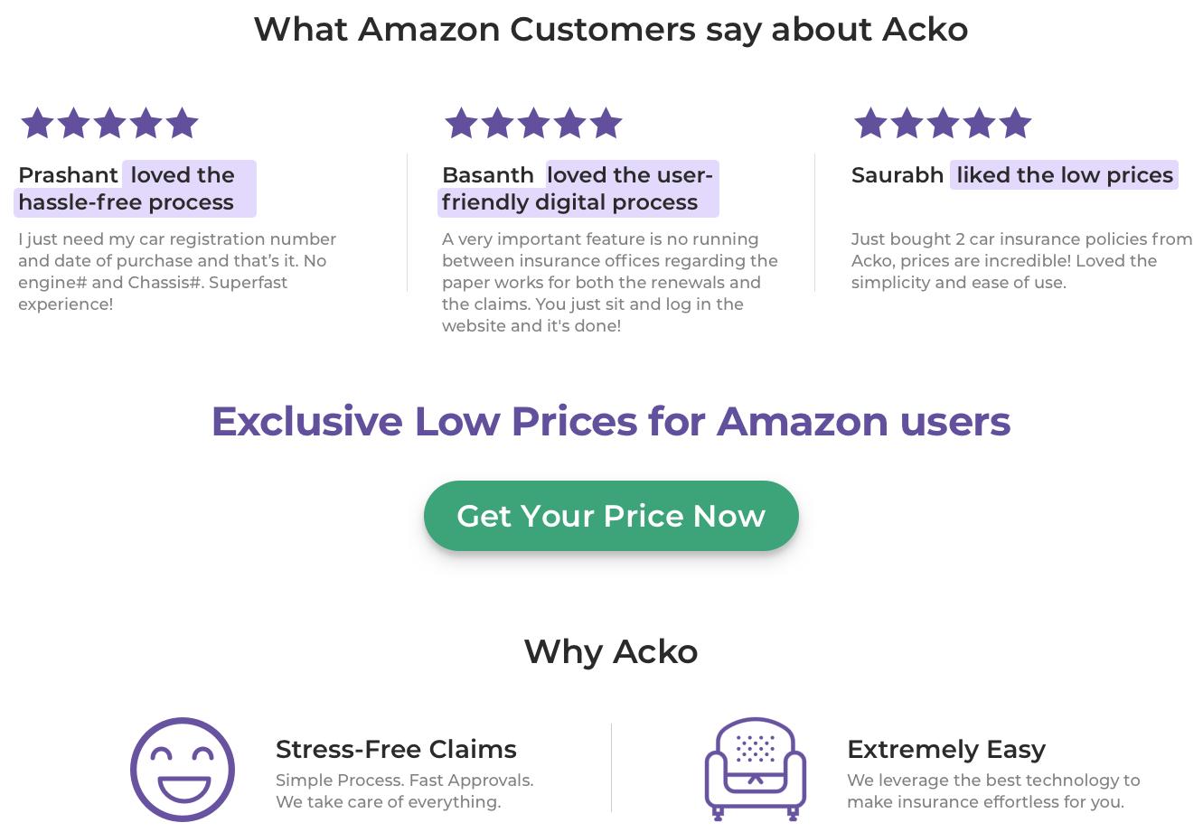 Acko on Amazon